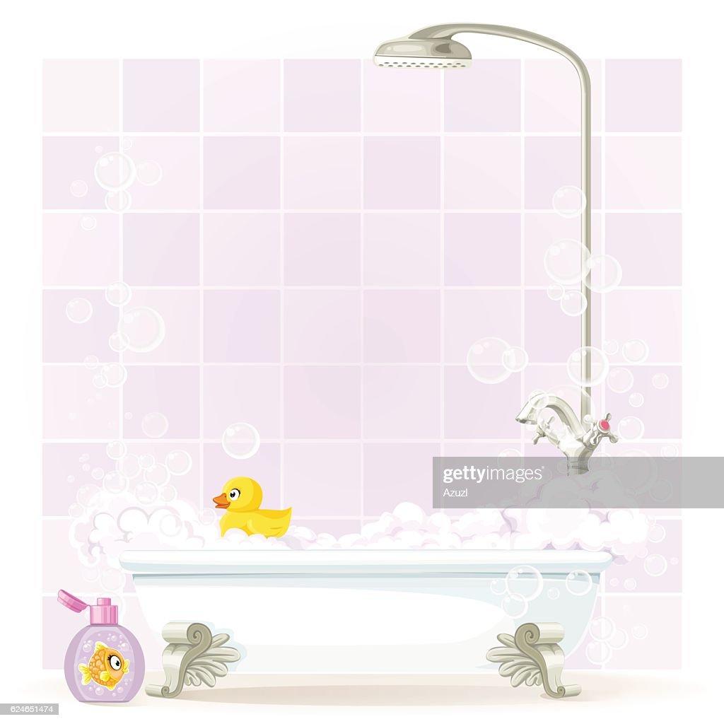 Foam filled bathtub on legs