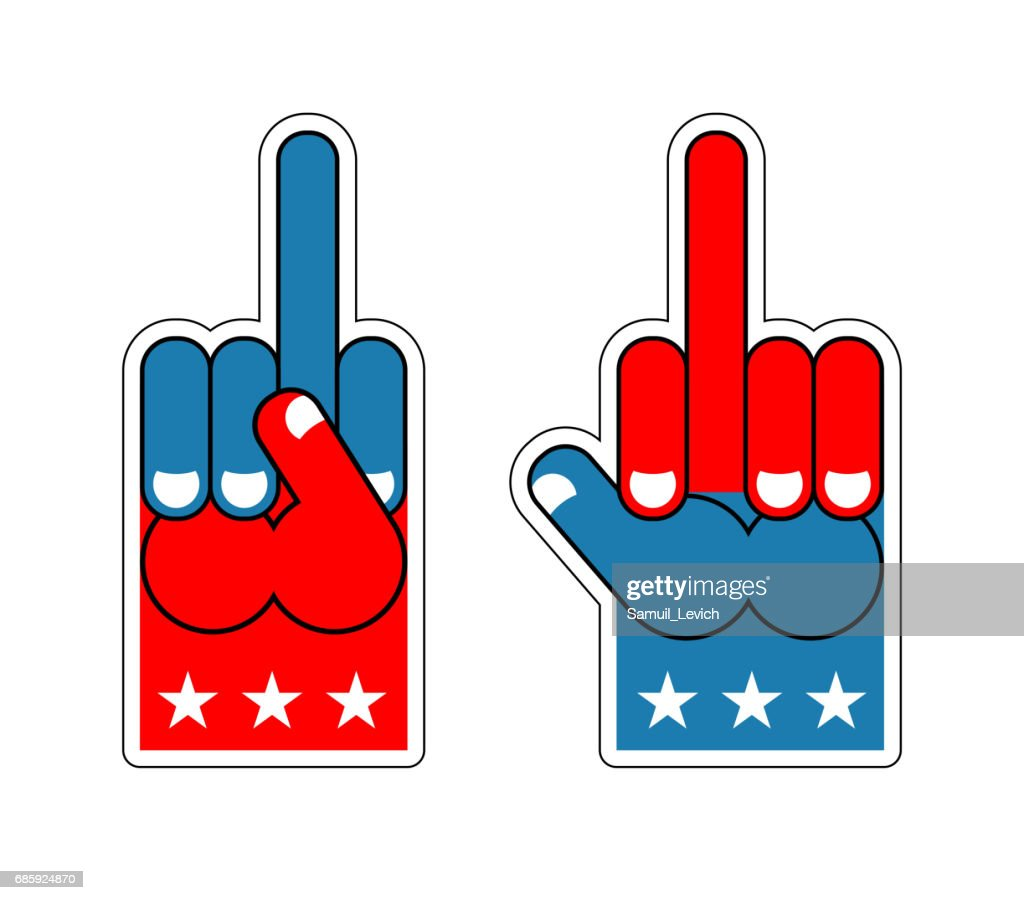 Foam finger fuck. USA Patriotic sign. Symbol of aggression and anger. Hand shows bully character. Thumbs up. Bad gesture. Expression of emotions. Pattern of flag of America. Provocative American Sports Apparel