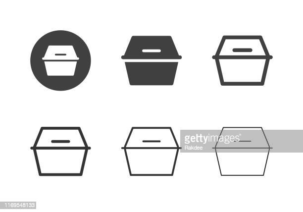 foam food box icons - multi series - packaging stock illustrations