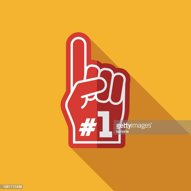 foam hand flat design football game icon - sport stock illustrations