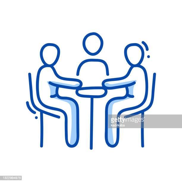 fokus-gruppe linie icon und doodle, skizze, handzeichnung, design-element - fokusgruppe stock-grafiken, -clipart, -cartoons und -symbole