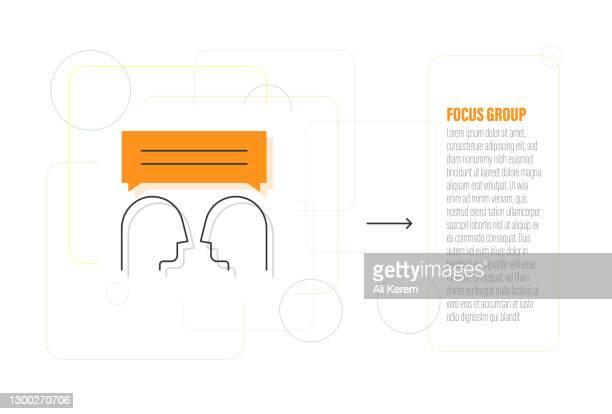 fokusgruppe linien-icon-design - fokusgruppe stock-grafiken, -clipart, -cartoons und -symbole