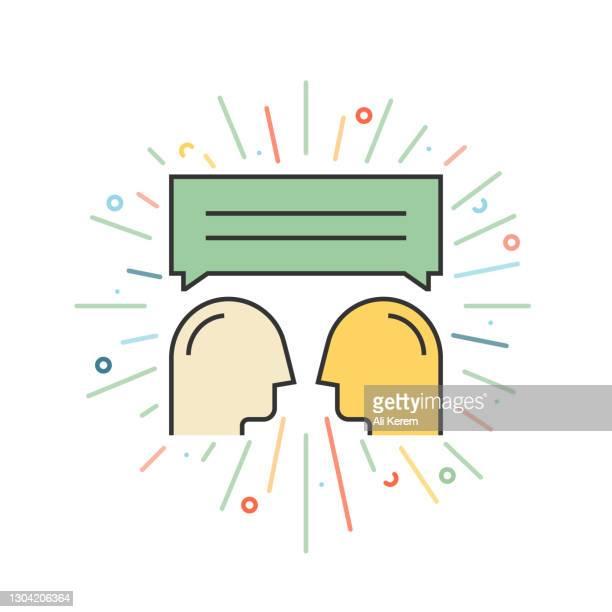 fokusgruppenliniensymbol - fokusgruppe stock-grafiken, -clipart, -cartoons und -symbole