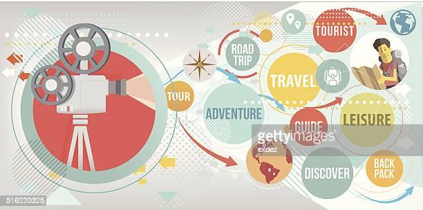 focus on travel - editorial stock illustrations