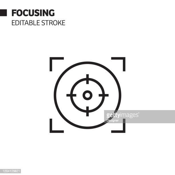 illustrations, cliparts, dessins animés et icônes de icône de ligne de mise au point, illustration de symbole de vecteur de d'contour. pixel perfect, avc modifiable. - concentration