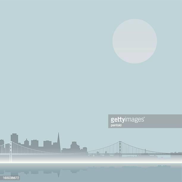 foggy san francisco skyline - san francisco bay bridge stock illustrations