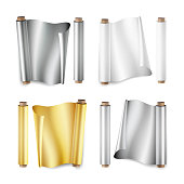 Foil Roll Set Vector. Aluminium, Metal, Gold, Baking Paper. Close Up Top View. Opened And Closed. Realistic Illustration Isolated On White