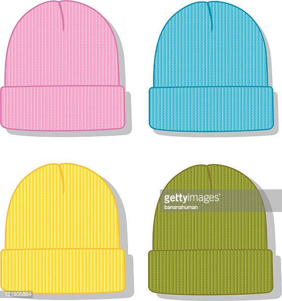 fold up beanie - knit hat stock illustrations
