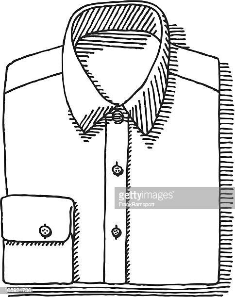 folded button down shirt drawing - all shirts stock illustrations