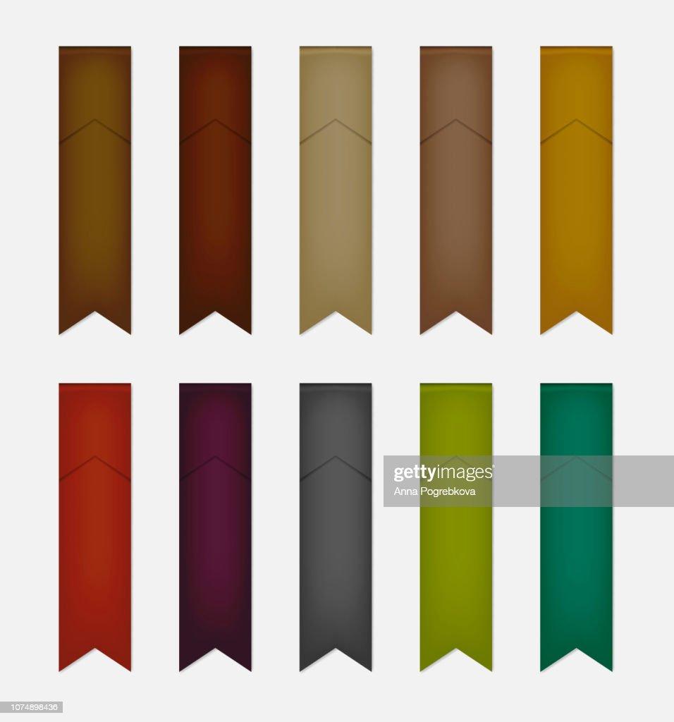 Folded flag shaped ribbon colored bookmark, vector mock-up set