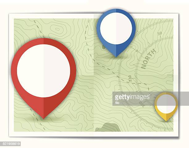 folded map locations - straight pin stock illustrations, clip art, cartoons, & icons