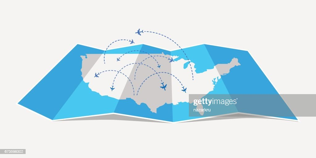 Folded map United States of America with airplanes.