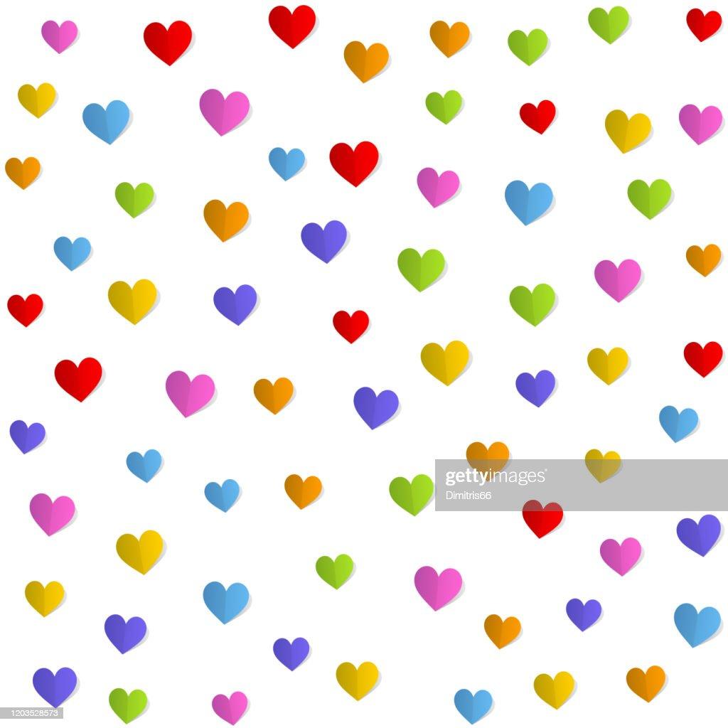折り畳まれた紙の心のシームレスなパターンバレンタイン母の日誕生日カード壁紙やギフトラップのデザイン ストックイラストレーション Getty Images