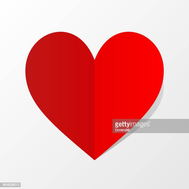 folded red paper heart icon with shadow on white background. minimal flat red love symbol. - folded stock illustrations