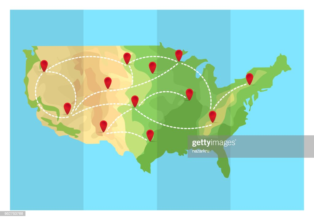 Folded travel map United States of America with point markers. Vector illustration in flat style. EPS10.