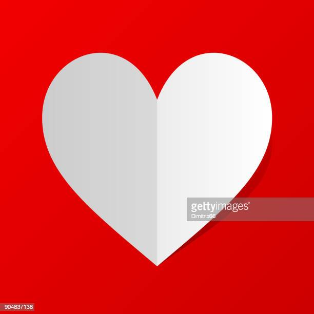 folded white paper heart icon with shadow on red background. minimal flat red love symbol. - folded stock illustrations