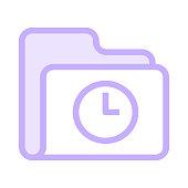 folder clock colour line vector icon