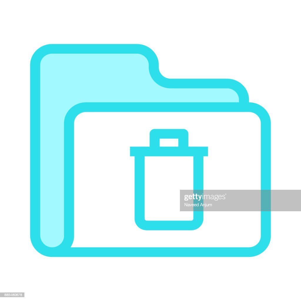folder delete colour line vector icon