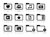 Folder documents music film icons set