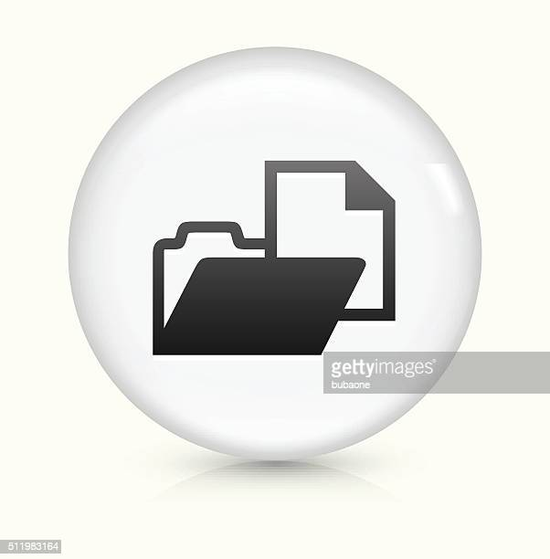 folder file with document icon on white round vector button - filing documents stock illustrations, clip art, cartoons, & icons