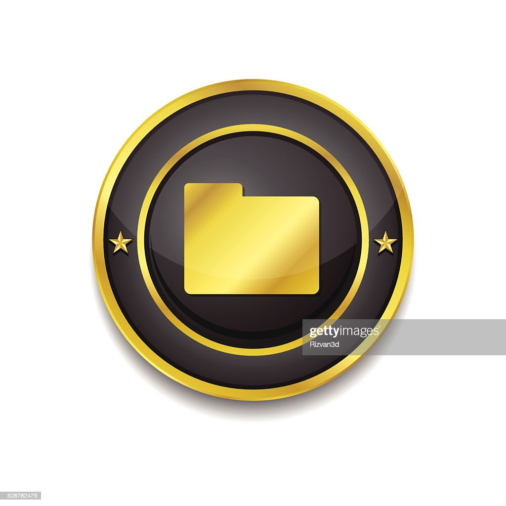 Folder Gold Vector Icon Button