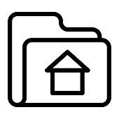 folder home Thin Line Vector Icon