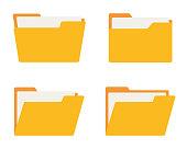 Folder icon set. Flat style. Vector