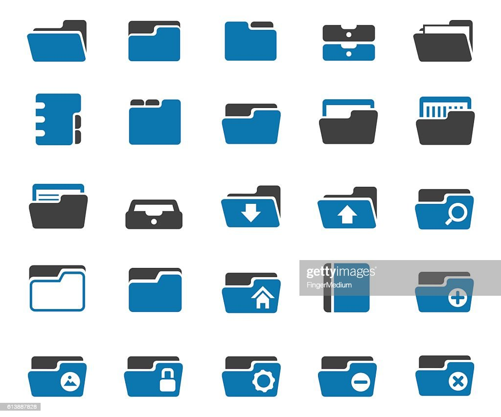 Folder icon set : stock illustration