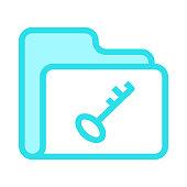 folder key colour line vector icon