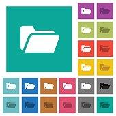 Folder open square flat multi colored icons