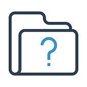 folder question mark thin colour line vector icon