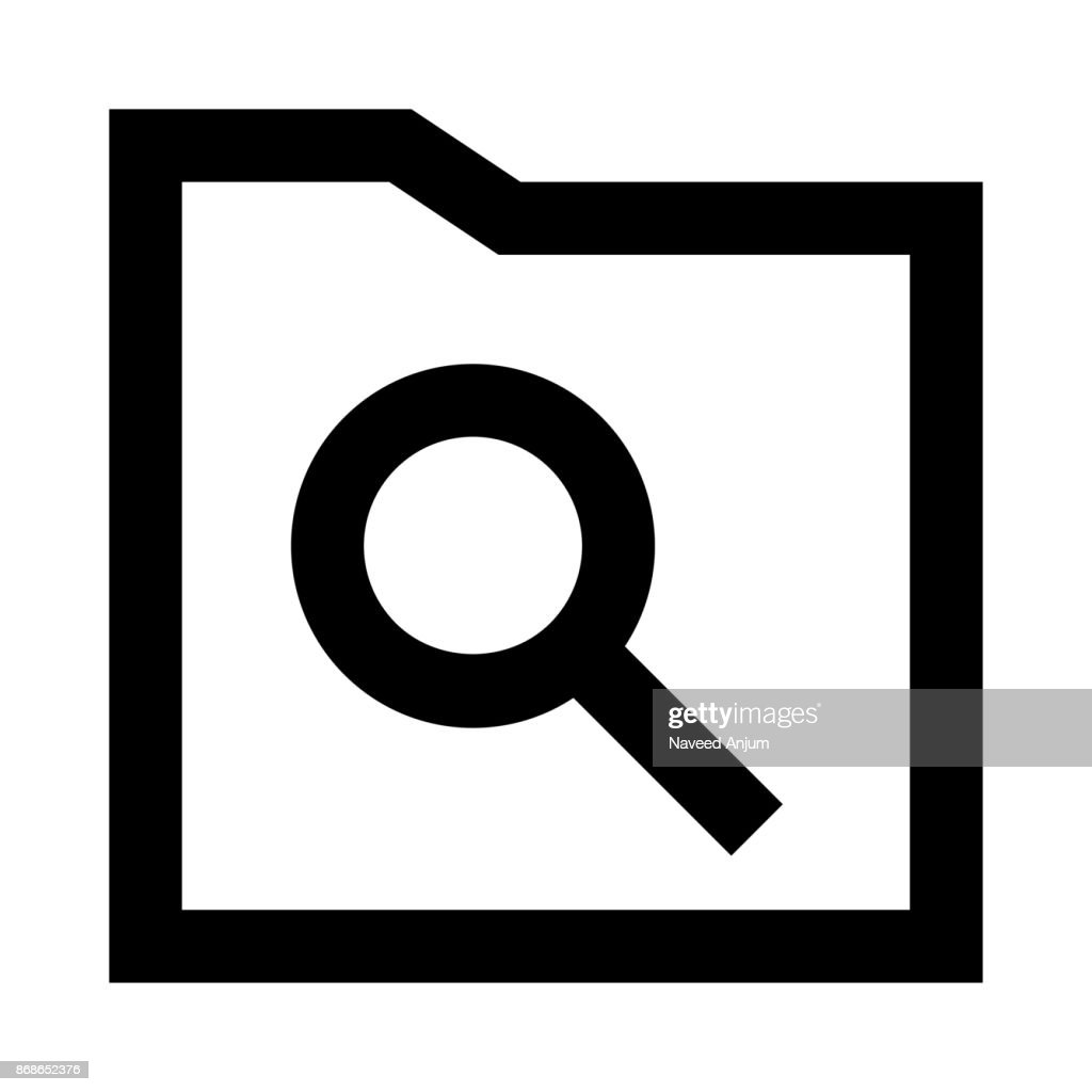 folder search thin line vector icon