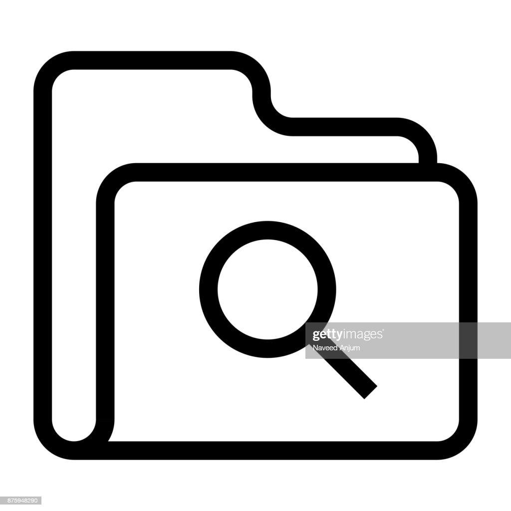 folder search Thin Line Vector Icon
