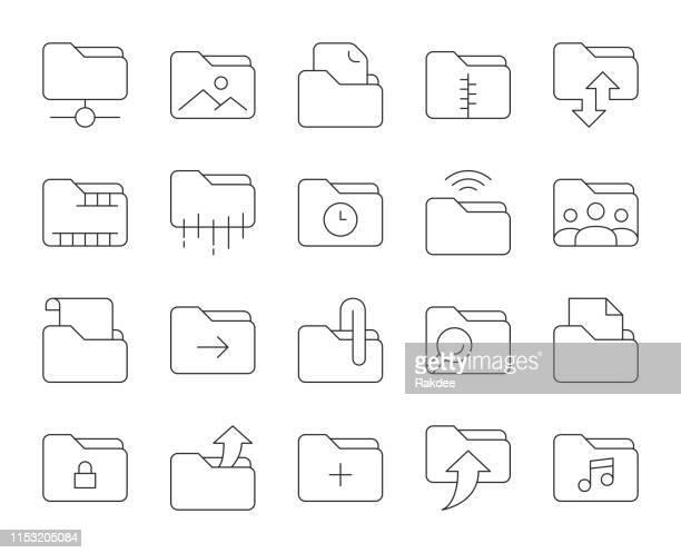 フォルダ-細い線のアイコン - ファスナー点のイラスト素材/クリップアート素材/マンガ素材/アイコン素材