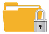 folder with master key lock icon vector