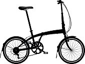 Folding bike silhouette isolated on white