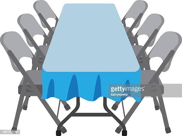 ilustraciones, imágenes clip art, dibujos animados e iconos de stock de plegable mesa y sillas - mesa de comedor