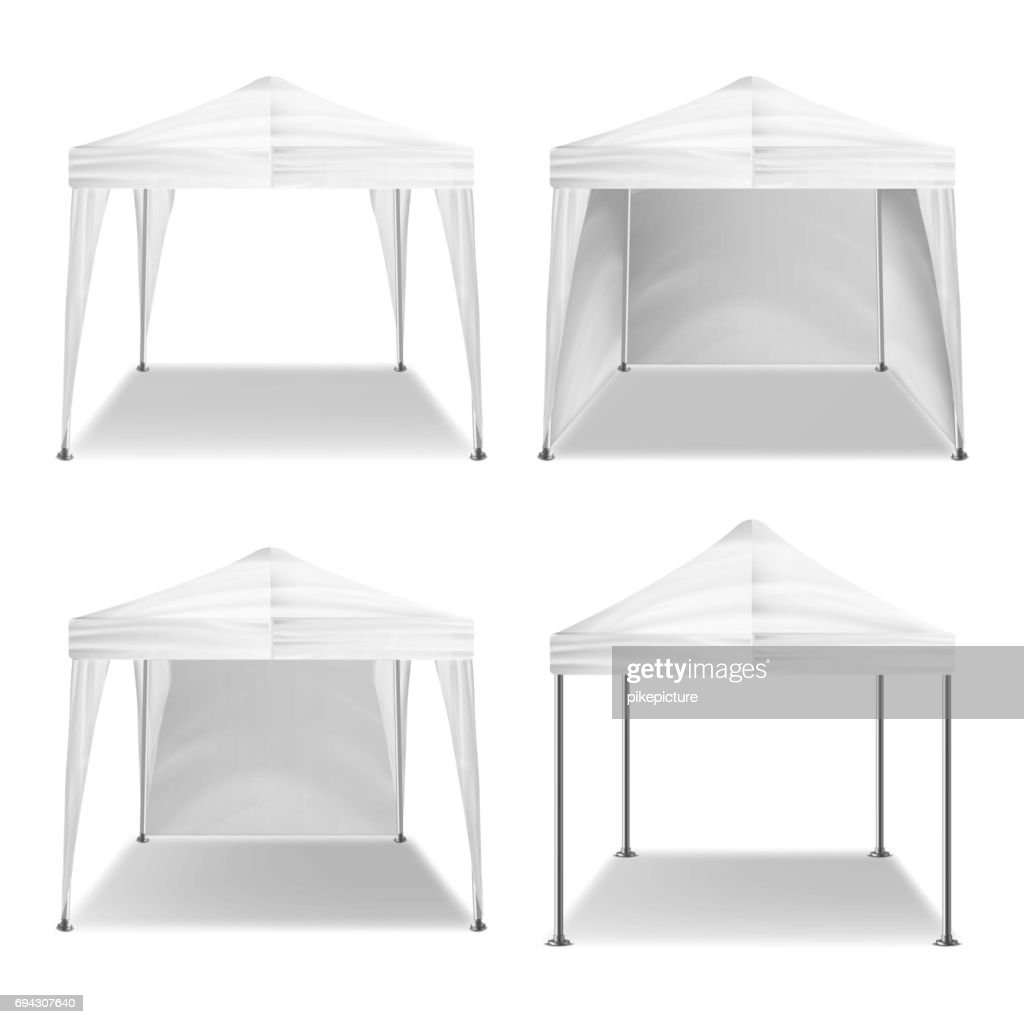 Folding Tent Outdoor Pavilion Set Vector. Realistic Template Blank. Promotional Outdoor Event Trade Show Pop-Up White Tent Mobile Marquee, Template. Product Advertising. Vector Illustration