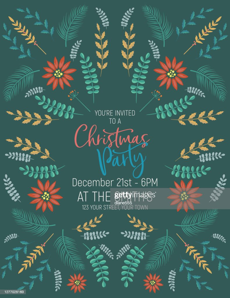 Folk Art Christmas Party Invitation Template High Res Vector Graphic Getty Images