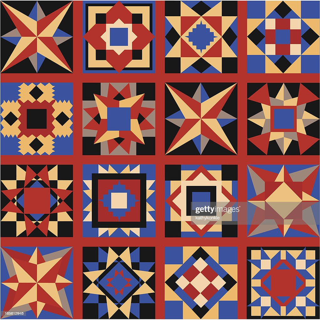 Folk Art Quilt Squares Vector Art | Getty Images : photo quilt squares - Adamdwight.com