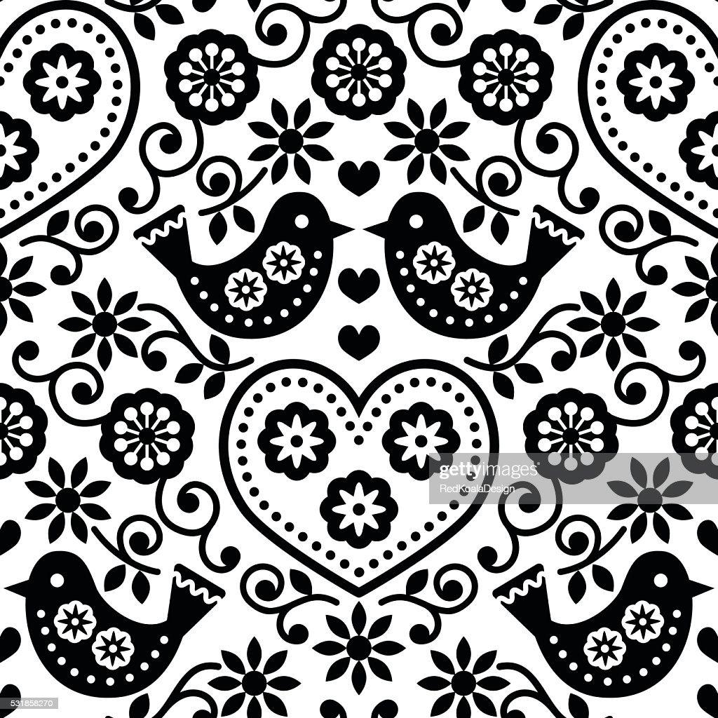 Folk art seamless monochrome pattern with flowers and birds