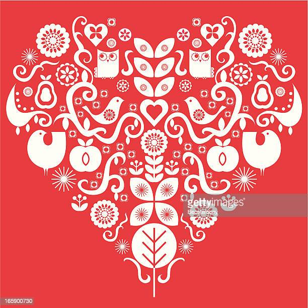 Folk art valentines heart
