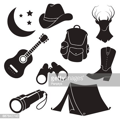 69ec50a209b Folk Camping Country Vector Icon Set Vector Art