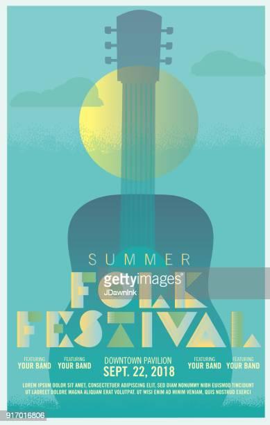 Folk festival art deco style poster design template