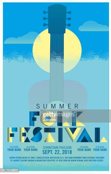 Modèle de conception affiche folk festival art deco style