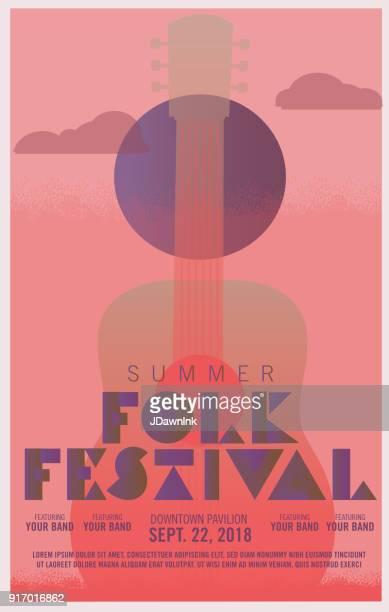 folk festival art deco style poster design template - folk music stock illustrations