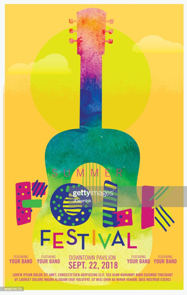 Folk festival watercolor texture poster design template : stock illustration