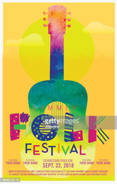 folk festival watercolor texture poster design template - flyer leaflet stock illustrations