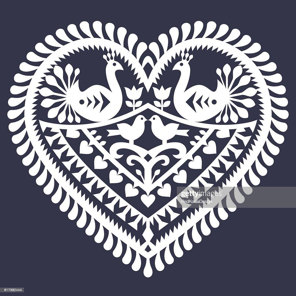 Folk heart pattern for Valentine's Day - Wycinanki Kurpiowskie