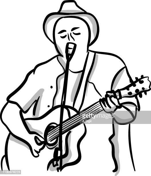 folk musician - songwriter stock illustrations
